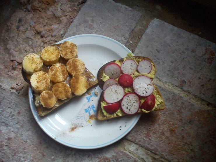Tahini and Banana Dreams (left) Radish and Avocado LIFE (right)