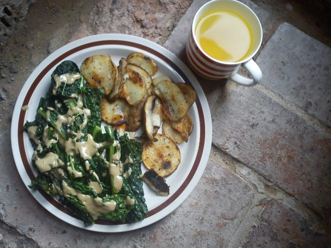 Kale and Potatoes ft. Tahini and Portobello Mushies